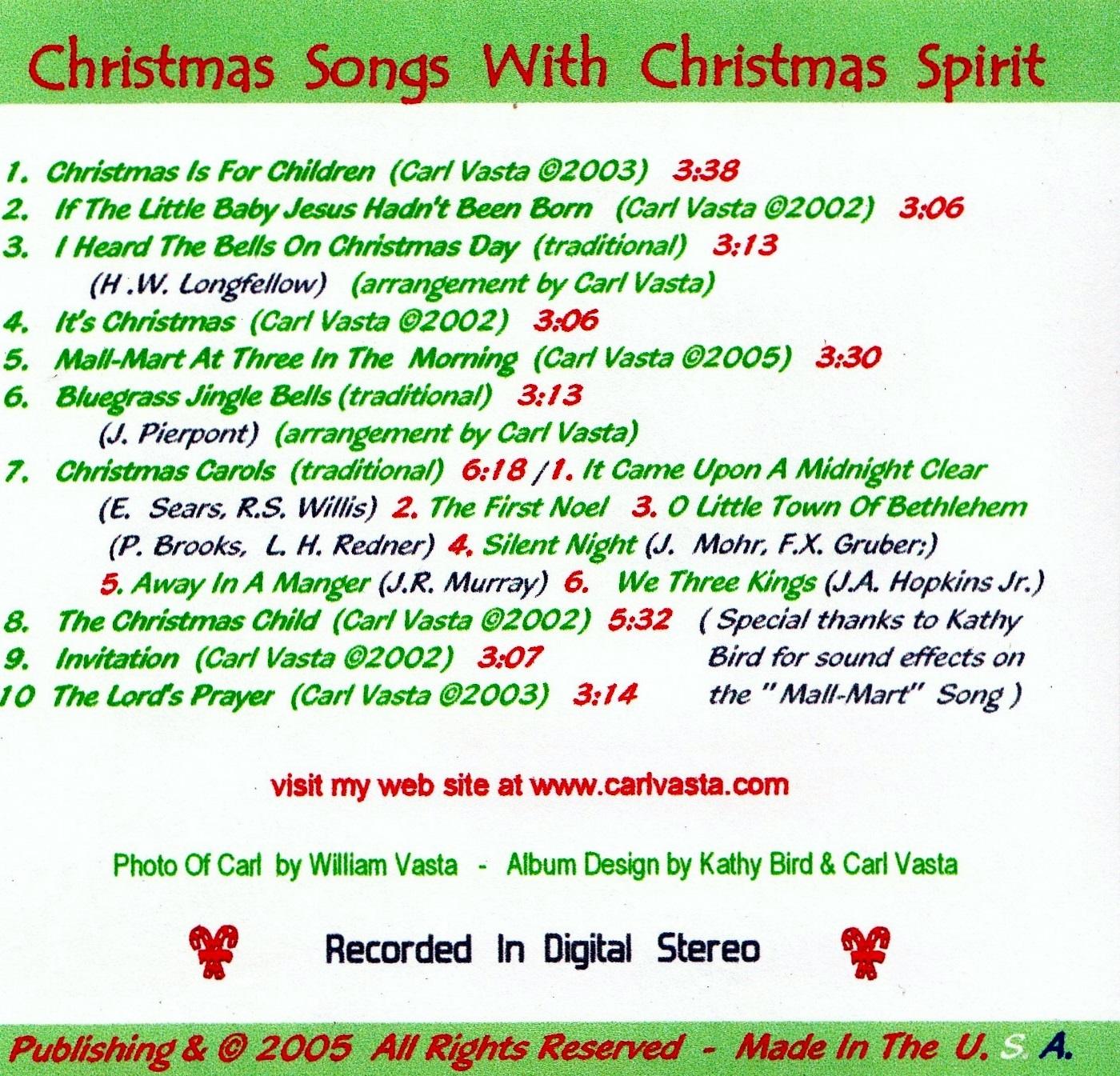 Christmas CD Back