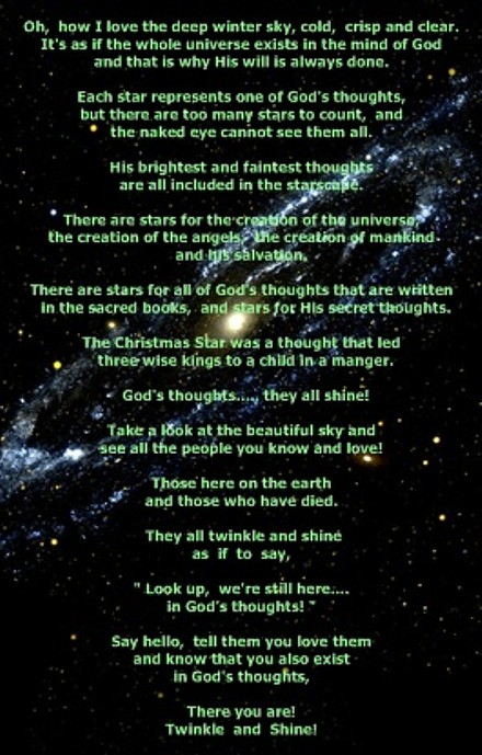 Poem printed on universe poster
